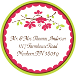 Name Doodles - Round Address Labels/Stickers (Chelsea Hot Pink)